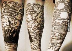 Line Work Tattoo, Line Tattoos, Black Tattoos, Arm Tattoos, Tatoos, Japanese Sleeve Tattoos, Full Sleeve Tattoos, Tattoo Sleeve Filler, Chinese Tattoos