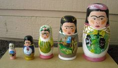 These Russian Nesting Dolls are probably on my Top 10 Frida Kahlo Wants (via Frida Kahlo Nesting Dolls by ImaginaryStars on Etsy) Frida Art, Matryoshka Doll, Wooden Dolls, 3 D, Little Girls, Geek Stuff, Hand Painted, Crafty, Creative