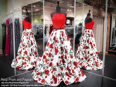 Red Floral Two-Piece Lace Pockets Prom Dress