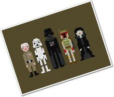 Star wars pixel people cross stitch