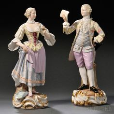 Pair of Meissen Porcelain Figures, Germany, 19th century, polychrome enameled and gilded, depicting standing figures of a man and woman, the woman holding a flower, the man reading music.