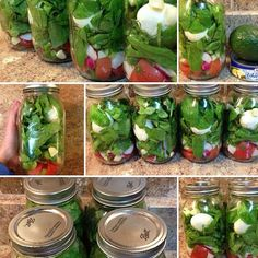 Salad in a jar for meal prep! Put all of your wet ingredients at the bottom, top with dry ingredients, when you are ready to eat it dump it on a plate and its a salad with the dry at the bottom and wet on top. Add tuna, avo, and your own salad dressing (lemon juice, evoo, salt, pepper, minced garlic, and cilantro). In the jars I put tomatoes, radish, diced garlic, hard boiled egg, green onions, and spinach. Perfect for the week!