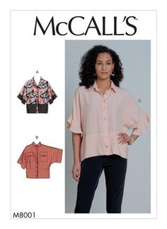 Buy the tops sewing pattern from McCall's. These very loose-fitting tops with a front button closure can be casual or sophisticated. Tunic Sewing Patterns, Dress Making Patterns, Mccalls Patterns, Pattern Sewing, Loose Fitting Tops, Loose Tops, Collar Pattern, Top Pattern, Sewing Blogs