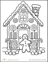 Gingerbread House Coloring Pics Christmas Coloring Pages