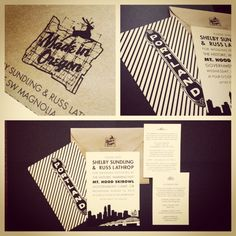 Portland Oregon Wedding Invitations Black And White Tiethatbindsweddings