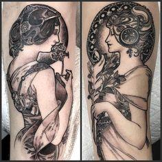 """La Primevere and la Plume (Alphonse Mucha) , work in progress   #geraldfeliciano #geraldfelicianotattoo #tattoo #tattoos #nyctattoos #Eastsideink…"""
