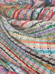 Vintage crochet shell stitch stripe blanket.