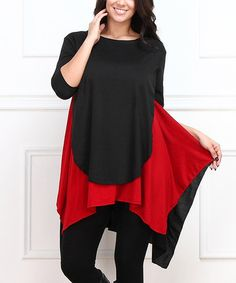 Another great find on #zulily! Black & Red Sidetail Tunic - Plus #zulilyfinds