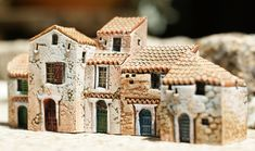 Domenique Gault and Jean-Pierre Gault miniature houses, Provence series. Clay Houses, Ceramic Houses, Paper Houses, Miniature Houses, Ceramic Clay, Pottery Houses, Wooden Buildings, Wooden House, Fairy Houses