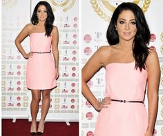Tulisa hit the National Film Awards in a baby pink Victoria Beckham dress