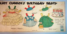 Lucy Currier's Birthday Party Newspaper Paper Doll, Evelyn Dix 1930s
