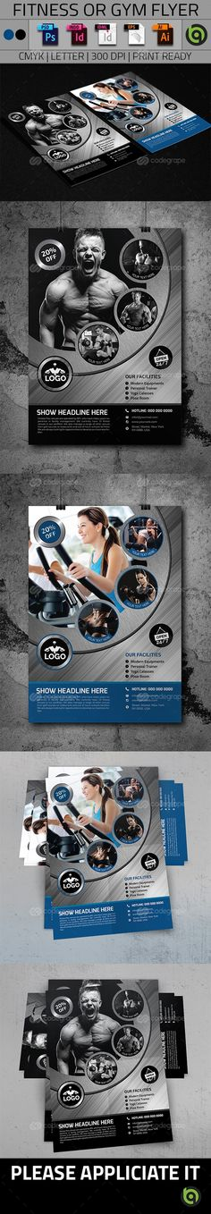 Fitness Flyer Flyer template, Brochures and Adobe photoshop - fitness flyer