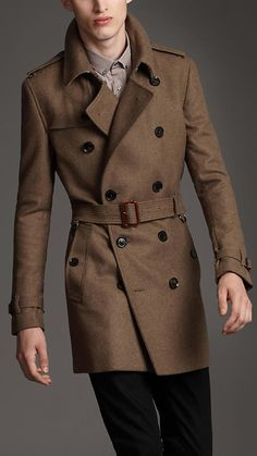 Burberry London men's textured wool trench coat Top Mode, Mens Wool Coats, Wool Trench Coat, Herren Outfit, Mens Fashion Suits, Gentleman Style, Coat Dress, Coats For Women, Madrid