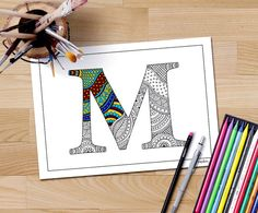 Colouring Pages Alphabet Printable : Zentangle alphabet coloring page letter d to color for