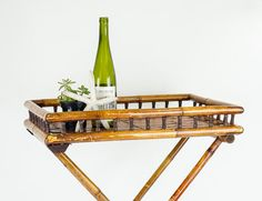 Mid Century Rattan Folding Serving Tray Table by tawneyvintage, $85.00