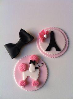 Paris Pink Poodle Edible Cupcake Topper 12 count. $18.00, via Etsy.