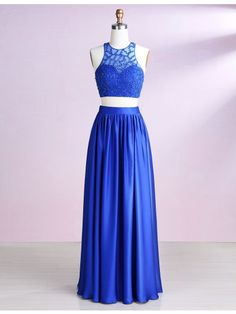 Two Piece Round Neck Royal Blue Satin Prom Dress with Beading