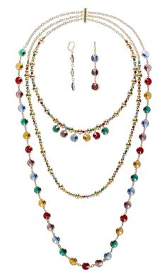 Jewelry Design - Triple-Strand Necklace and Earring Set with Swarovski Crystal and Gold-Finished Steel Beads - Fire Mountain Gems and Beads