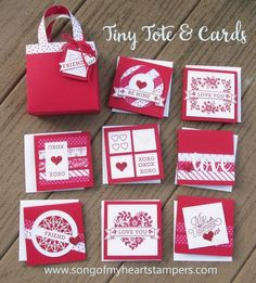 Tiny Tote and Cards valentine project tutorial DIY cardmaking Stamppin Up Sizzix