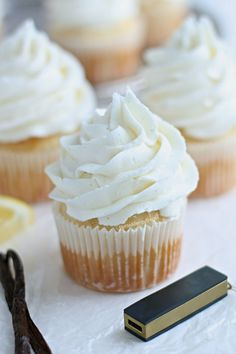 Dairy Free Gluten Free Vanilla Cupcakes Recipe (vegan egg free)- Bakery style real vanilla bean cupcakes. Food Allergy friendly. Top 8 Free Allergy Amulet.
