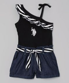 9d21587c76c3 Black Stripe Asymmetrical Romper - Toddler  amp  Girls by