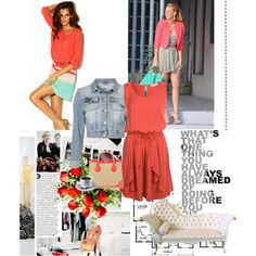 Coral Summer Look, created by #scarlettohara123 on #polyvore. #fashion #style Miss Selfridge Porter Grey