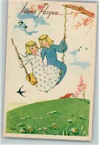 1946 Künstlerkarte Ostern Buona Pasqua - Engel auf einer Schaukel