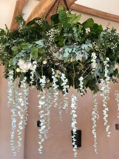 close up of hanging floral chandeliers white summer wedding Barn Wedding Flowers, Hanging Flowers Wedding, Barn Wedding Decorations, Floral Wedding, Wedding Bouquets, Wedding White, Green And White Wedding Flowers, Wedding Aisles, Wedding Backdrops