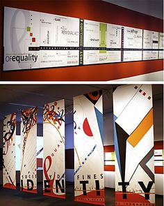 Environmental Graphics. Graphic elements to break up exterior of buildings with flat fronts.