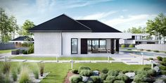 Projekt domu HomeKONCEPT 32 by HomeKONCEPT House Roof Design, House Outside Design, Small House Design, Facade House, Modern House Plans, Small House Plans, House Elevation, Construction, Living Room Pictures
