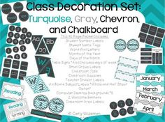 Classroom Decor Pack in only Turquoise and Gray! :)