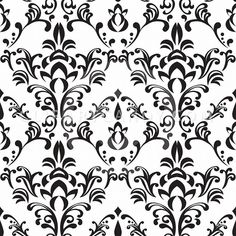Simple Free Black and White Damask Tiling Pattern