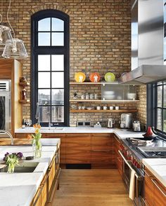 wood + white + brick + open shelving