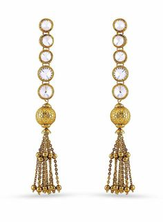 Beige & Gold Artificial Jewellery Earrings