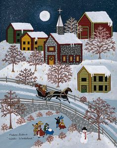 Primitive Christmas Winter Wonderland Snowman Snow Folk Art PRINT 8x10