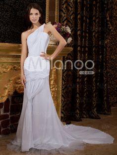 One-shoulder wedding dress $121.49 #affordable #wedding #dress