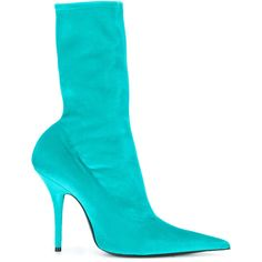 Balenciaga Knife velour booties (3.890 RON) ❤ liked on Polyvore featuring shoes, boots, ankle booties, scarpe, blue, above-knee boots, blue ankle booties, pointed toe ankle booties, balenciaga boots and pointy toe booties