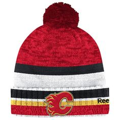 Reebok Calgary Flames Red/Black Center Ice Cuffed Knit Hat