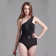 Sexy Black Single-Shoulder Wrap One-Piece Bathing Suit M-2XL 4 Colors