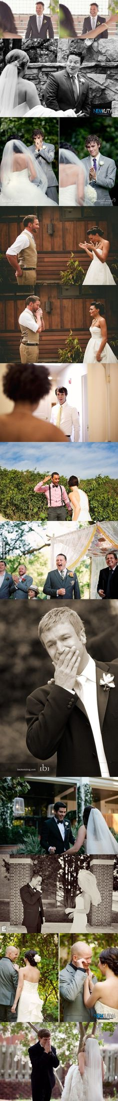 Grooms reactions on wifes wedding dresses.