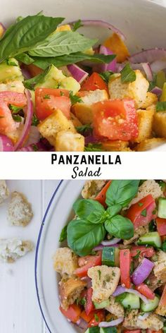 Simply delicious traditional panzanella salad is a summer treat with loads of red ripe tomatoes, chunks of crusty bread, and fresh green basil, dressed in a white wine vinaigrette. Healthy Salad Recipes, Lunch Recipes, Summer Recipes, Onion Relish, Cheesy Recipes, Fresh Green, Vinaigrette, White Wine, Food Videos
