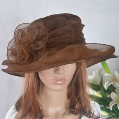 Lady Kentucky Derby Hat Church Organza Wide Brim Hat Dress Hat Brown On Sale #BowlerDerby