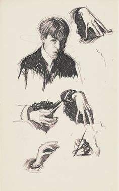 "Edward Hopper, ""Self-Portrait and Hand Studies,"" c. 1900. Pen and ink and graphite pencil on paper, 7 7/8 × 4 15/16 in. (20 × 12.5 cm). Whitney Museum of American Art, New York; Josephine N. Hopper Bequest 70.1559.28"
