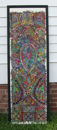 complete view of 'stained glass' art quilt by Susan Lenz.