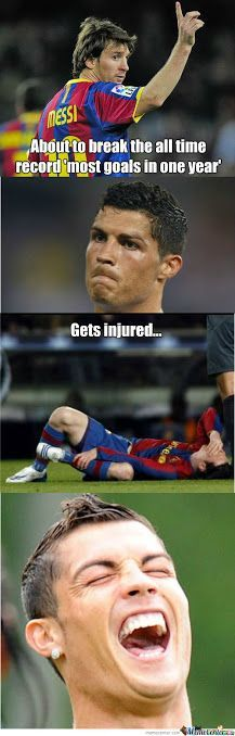 best collection of funny ronaldo >messi pictures Funny Sports Quotes, Funny Soccer Memes, Sports Humor, Soccer Humor, Funny Jokes, Hilarious, Football Jokes, Sport Football, Ronaldo Football