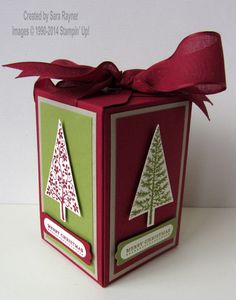Festival of trees box (closed), using supplies from Stampin' Up! www.craftingandstamping.com #stampinup