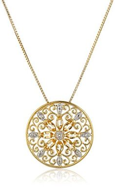 18k Yellow GoldPlated Sterling Silver Mandala Genuine Citrine Filigree Pendant Necklace 18 * Click image for more details.Note:It is affiliate link to Amazon.