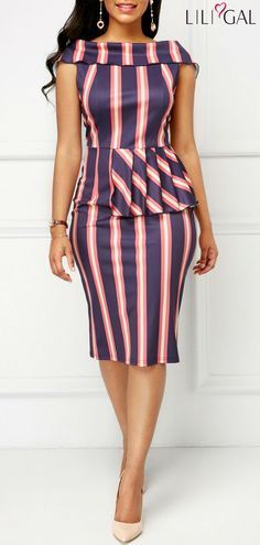 Peplum Waist Fold Over Striped Sheath Dress Latest African Fashion Dresses, African Print Dresses, African Dresses For Women, African Print Fashion, African Attire, African Wear, Look Fashion, Fashion Outfits, Fashion Design