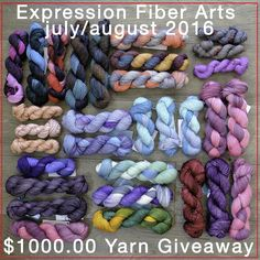 Expression Fiber Arts $1000 yarn giveaway! Enter now. Ends August 15th, 2016.