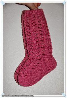 Lankakori Sekaisin: Pitsisukat Wool Socks, Knitting Socks, Knitting Videos, Knitting Projects, Crochet For Kids, One Color, Colour, Mittens, Handmade